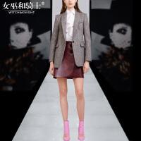 2017冬装新款高端订制羊毛西装外套荷叶边衬衫PU皮短裙三件套女装