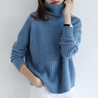 秋冬新款落肩袖宽松加厚高领纯色羊绒衫女短款套头毛衣打底针织衫