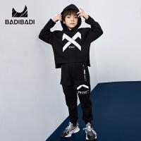 【3件2折:93.8】巴拉巴拉旗下 巴帝巴帝男童加绒套装潮酷个性卫衣黑色2018冬季新