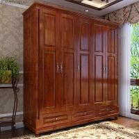 美式衣柜实木 小户型原木拉手中式 卧室家具 红胡桃色