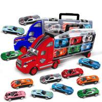 货柜车仿真小汽车玩具车12只合金车男孩玩具2-3-7-8周岁