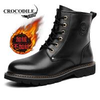 鳄鱼恤男靴潮流男士马丁靴加绒保暖靴子时尚男鞋