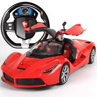 可充电一键开门方向盘遥控汽车漂移耐摔男孩儿童玩具赛车模型