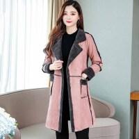 棉服 女士翻领羊羔毛中长款鹿皮绒棉服2020年冬季新款韩版时尚女士宽松休闲女装棉衣外套