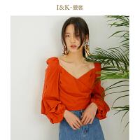 【3折到手价:90元】爱客2019春夏 小众设计红色灯笼袖短款露背小衫