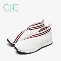 CNE2019春夏款圆头套脚平底撞色运动鞋袜子鞋女单鞋9T33501