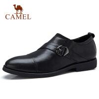 camel骆驼男鞋 秋季新款男士商务休闲牛皮皮鞋办公通勤孟克鞋