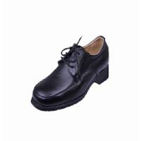 强人女式职业正装皮鞋牛皮单鞋坡跟系带女鞋商务皮鞋女式军鞋透气增高系带女皮鞋职场皮鞋