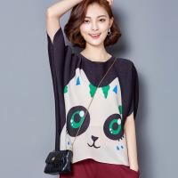 上衣女夏装新款 韩版 百搭可爱大眼猫咪印花褶皱五分袖打底衫