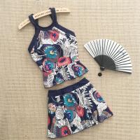温泉泳衣女遮肚显瘦性感韩国分体保守2018新款裙式平角复古游泳衣