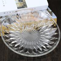 水晶玻璃水果盘 玻璃水果盘透明水晶创意客厅家用大号装水果篮现代简约茶几糖果盒S 10寸冰花盘 24.5cm