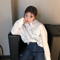 冬季新款复古韩版宽松素描印花上衣气质单排扣POLO领长袖衬衣潮女