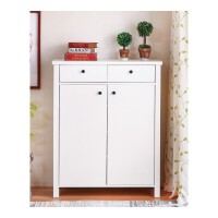 北欧简约现代大容量对开门鞋柜美式隔断柜创意鞋柜收纳柜 北欧现代对开门鞋柜(80C 组装
