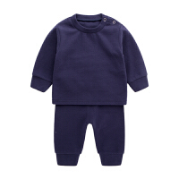 1岁婴儿家居服秋装3新生儿衣服保暖睡衣套装女宝宝内衣季 宝蓝色 90、100无肩扣