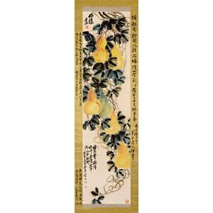 吴昌硕 日本回流 《葫芦图》(史树青、钱松岩、陈半丁题边跋)纸本立轴