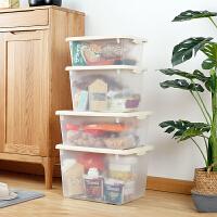 收�{箱透明塑料玩具整理箱有�w手提�s物零食收�{盒衣物�ξ锵浯筇� 磨砂透明收�{箱