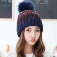 韩版大毛球混色针织户外加绒加厚毛线帽保暖秋冬女士帽子