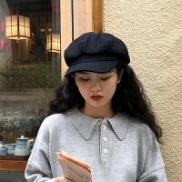 羊毛呢黑色八角帽纯色复古鸭舌帽秋冬文艺百搭保暖ins韩国网红帽 M(56-58cm)