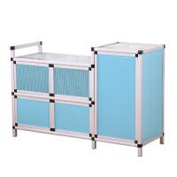 简易灶台厨房橱柜客厅餐边柜碗柜组装不锈钢储物柜茶水柜收纳柜子 5门
