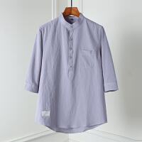 纯棉七分袖衬衫男士2019新款青少年帅气立领衬衣潮