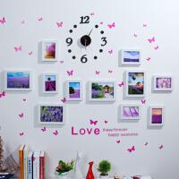 11框组合照片墙钟表款相框墙创意组合悬挂相片墙送蝴蝶贴