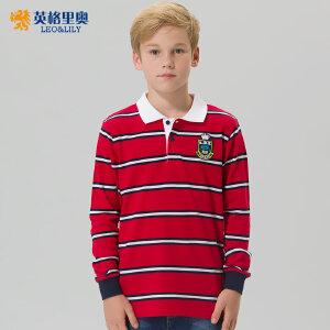 男童长袖纯棉T恤2017秋装新款中大童儿童上衣翻领大码条纹POLO衫