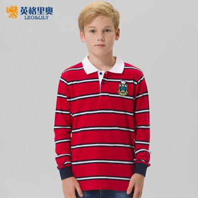 男童长袖纯棉T恤2018秋装新款中大童儿童上衣翻领大码条纹POLO衫2件5折 更有特价专区