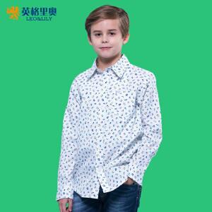 款男孩休闲衬衣中大童纯棉童装儿童上衣