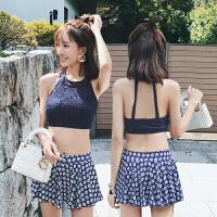 分体泳衣女蕾丝平角裙式两件套 时尚韩版温泉小香风小胸聚拢保守游泳衣