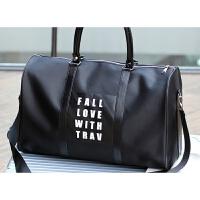 韩版牛津布登机包可套拉杆行李箱上的旅行手提包女短途小衣服包包 黑色 46*28*23(cm) 大