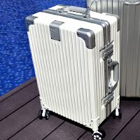 铝框拉杆箱万向轮行李箱女旅行箱包登机男26学生24密码29寸皮箱 008定制款【白色】拉丝耐刮 铝框