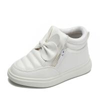 女童靴子2017季新款蝴蝶结拉链单靴保暖棉鞋中筒儿童鞋雪地靴