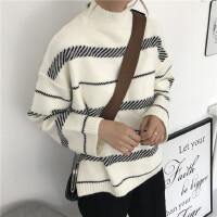 少女毛衣女秋冬新款韩版百搭学生潮高领外穿黑白条纹针织保暖上衣