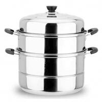 26cm复底二层不锈钢蒸锅家用不锈钢锅双层汤锅蒸馒头包子锅具