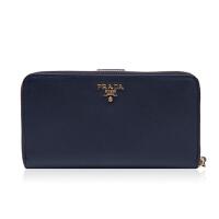 Prada/普拉达藏青色牛皮材质金属logo装饰女士长款钱夹1