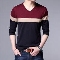 秋季韩版t血中青年男士长袖t恤鸡心领中年人男装�B薄款针织衫
