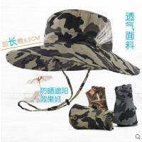 男遮阳帽夏登山大檐西部牛仔帽子可折叠丛林帽迷彩太阳帽春秋