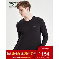 七匹狼长袖T恤男士 2019新款时尚休闲净色圆领长袖T恤 001(黑色) 165/84A/M