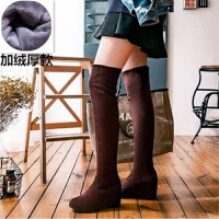 靴子女秋冬季坡跟弹力过膝长靴女高筒靴长筒靴内增高显瘦弹力女靴