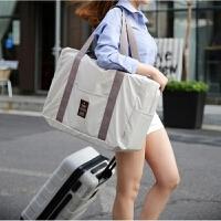 折�B旅行包女手提旅行袋大容量出差短途男可登�C防水衣物收�{行李 灰白(15) 大