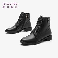 莱尔斯丹 时尚圆头粗跟毛里马丁女靴LS AT25201V