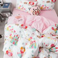 网红床单四件套棉纯棉ins被套床单女卡通被子儿童单人床3三件套