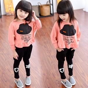 童装2018春秋季新款女童长袖礼帽蝙蝠衫套装韩版儿童灯笼裤两件套