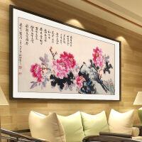 国画牡丹手绘客厅装饰画牡丹花挂画写意 仿古洒金