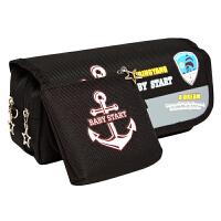 绍泽文化 BD-22150简约创意大容量帆布笔袋男孩款-海军风 儿童学生铅笔袋/文具盒 酷黑 当当自营
