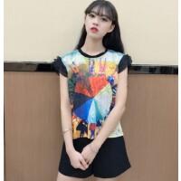 小香风夏季新款韩版印花打底衫短袖蕾丝衫小飞袖t恤女 潮9.9