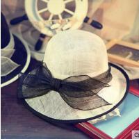 女士名媛礼帽子 欧美风手工 花朵网纱亚麻纱 复古贵族夏季遮阳帽造型