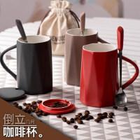 创意女学生陶瓷马克杯韩版咖啡杯带盖勺潮流家用喝水杯子情侣一对