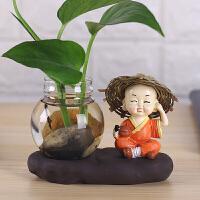 花瓶摆件简约现代家居日用饰品水养绿萝桌面茶道禅意迷你花器摆设 中等