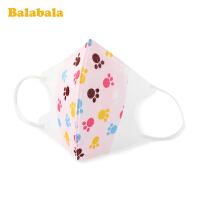 巴拉巴拉儿童口罩防飞沫女童宝宝婴幼儿小孩子印花透气防护五只装